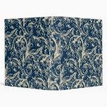 Carpeta azul marino de la tela del vintage antiguo