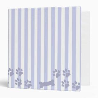 Carpeta azul y blanca de la impresión del perro de