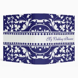 Carpeta azul y blanca elegante de Avery del damasc