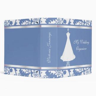 Carpeta azul y blanca elegante del planificador de