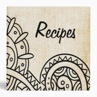 Carpeta beige de la receta del adorno de Mehndi