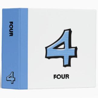 Carpeta blanca azul del número 4 tontos