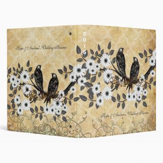 Carpeta blanca de la flor de cerezo del pájaro del