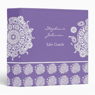 Carpeta blanca/púrpura del ornamento elegante de