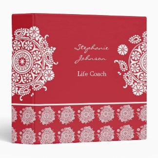 Carpeta blanca roja del ornamento elegante de Aver