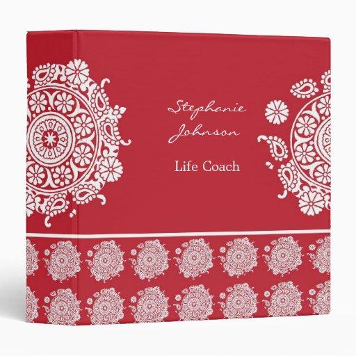 Carpeta blanca/roja del ornamento elegante de Aver
