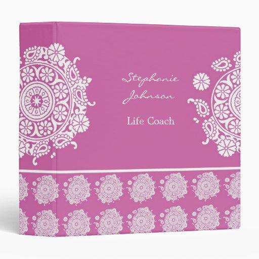 Carpeta blanca/rosada del ornamento elegante de Av