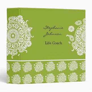 Carpeta blanca/verde del ornamento elegante de