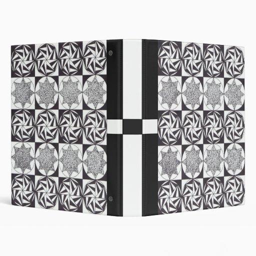 carpeta blanco y negro de los adornos de 1 pulgada