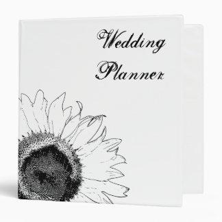 Carpeta blanco y negro del boda del girasol