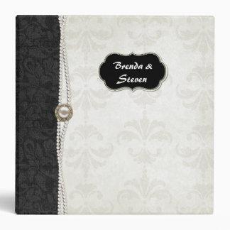 Carpeta blanco y negro elegante del álbum del boda