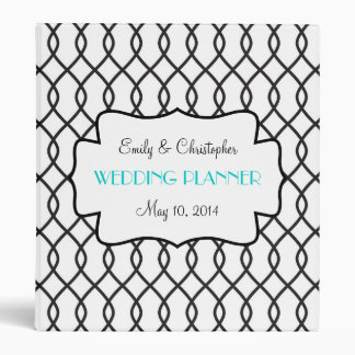 Carpeta blanco y negro elegante del boda