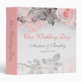 Carpeta color de rosa gris rosada del boda de