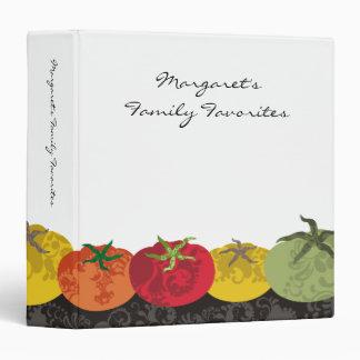 carpeta colorida de la receta del libro de cocina