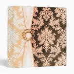 Carpeta coralina elegante de la cinta del damasco