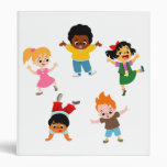 Carpeta de Avery del dibujo animado de cinco niños