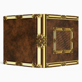 Carpeta de cuero enmarcada oro de la mirada