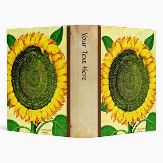 Carpeta de la impresión del girasol del vintage