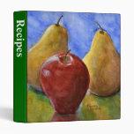 Carpeta de la receta, bella arte Apple, peras