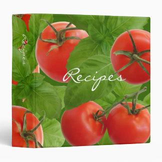 Carpeta de la receta de la albahaca del tomate