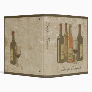 Carpeta de la receta de las botellas de vino del