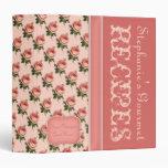 Carpeta de la receta de los rosas del vintage del