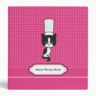 Carpeta de la receta del rosa del cocinero del gat