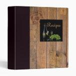 Carpeta de la receta del vino y de madera
