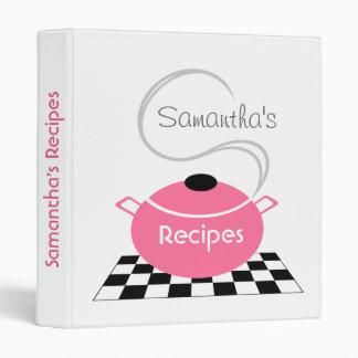 Carpeta de la receta - pote de cocinar rosado