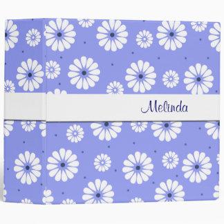 Carpeta de las margaritas azules y blancas de la d