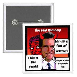 Carpeta de los gaffs de Romney por completo de muj Pin Cuadrado