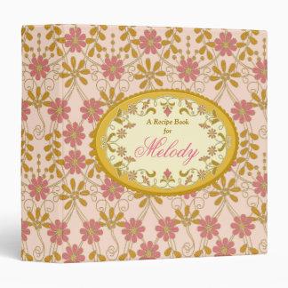 Carpeta de marfil de la receta del rosa del oro de