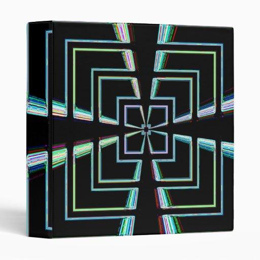 Carpeta de neón negra del diseño geométrico