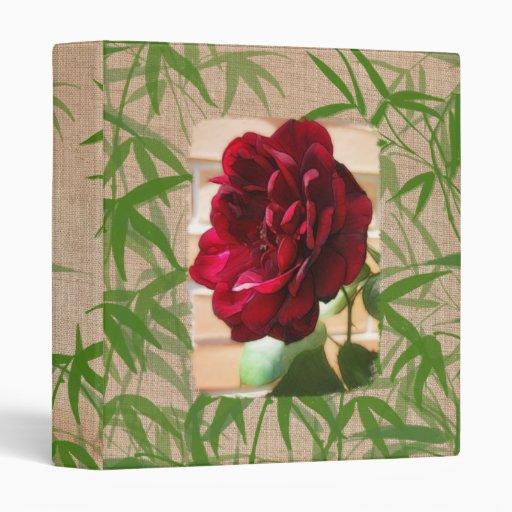 Carpeta de papel de bambú de la textura de la flor