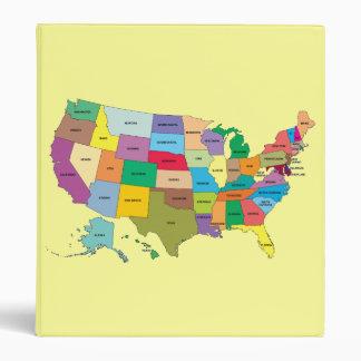 Carpeta de Yello con el mapa de Estados Unidos