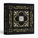 Carpeta del álbum del boda del negro de la flor de