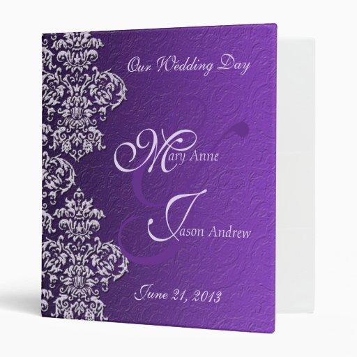 Carpeta del boda de la púrpura real del damasco