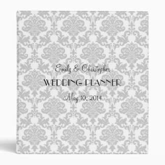 Carpeta del boda del damasco del gris de plata