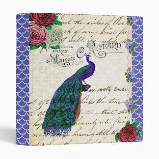 Carpeta del collage del pavo real del vintage