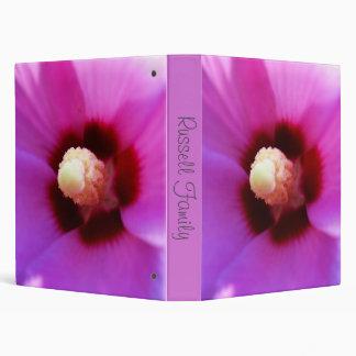 Carpeta del hibisco rosado o álbum de foto macra