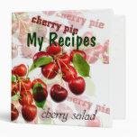 Carpeta del libro del cocinero de las cerezas