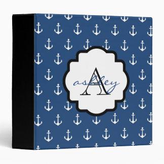 Carpeta del monograma del ancla de los azules mari