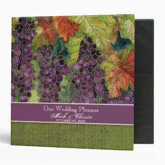 Carpeta del planificador del boda uvas del otoño