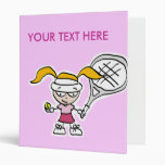 Carpeta del tenis con el dibujo animado del chica