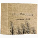 Carpeta elegante del boda de la arpillera y del ab