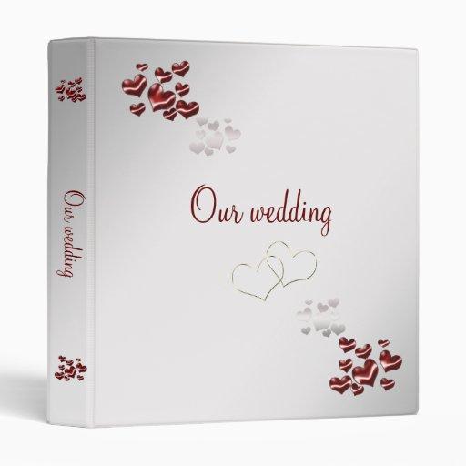 Carpeta elegante del boda del corazón rojo