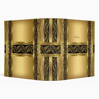 Carpeta elegante del diamante negro del oro