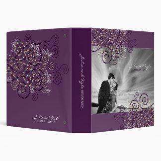 Carpeta étnica espiral púrpura elegante del boda d