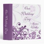 Carpeta floral abstracta púrpura y blanca del boda