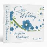 Carpeta floral azul de las memorias del boda